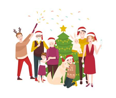 Large happy family celebrating Christmas. Smiling cartoon people in santa hats standing around spruce tree decorated by garlands. Holiday party. Festive colorful vector illustration in flat style. Illustration
