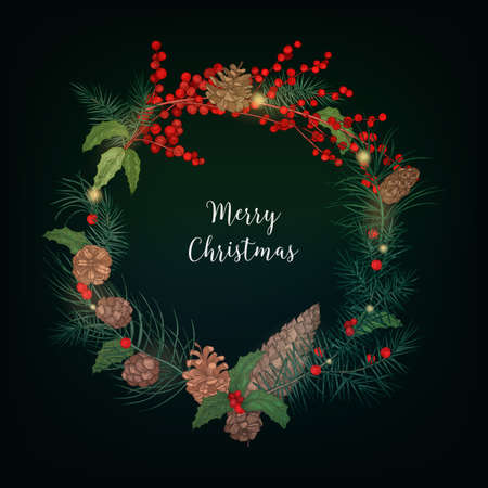 Wreath made of bunches of rowan berries, branches of coniferous trees, cones, holly leaves and decorated with light garland. Holiday decoration and Merry Christmas inscription. Vector illustration.
