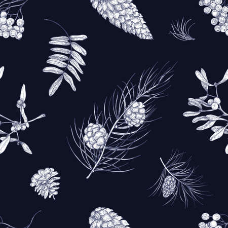 Pattern with parts of winter plants - mistletoe, branches of coniferous trees, cones, berries and leaves of rowan tree. Vector illustration for wallpaper, fabric print, backdrop.
