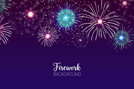 Beautiful background with spectacular fireworks bursting in dark night sky. Backdrop with festive colorful flashing lights. Holiday event celebration, pyrotechnics show. Vector illustration. Çizim