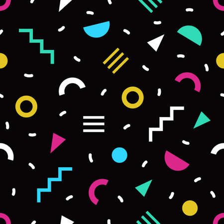 Trendy seamless pattern with small bright colored geometric shapes and lines on black background. Colorful simple backdrop. Vector illustration in cool 1980s style for textile print, wrapping paper