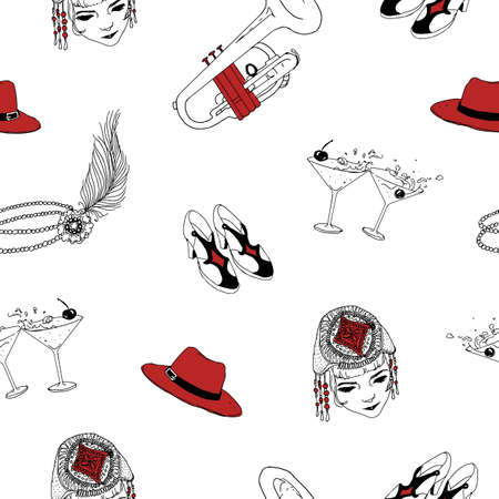 Seamless pattern with attributes of 1920s - pearl headband with feather, hat, shoes, cocktails, trumpet. Vector illustration in black, white and red colors for wallpaper, wrapping paper, backdrop.