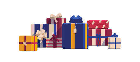Holiday Christmas gift boxes wrapped in bright colored paper and decorated with ribbons and bows. Packed festive presents isolated on white background. Colorful realistic vector illustration.