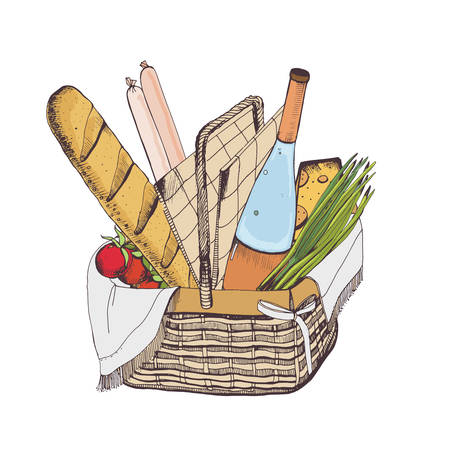 Colorful drawing of traditional wicker picnic basket