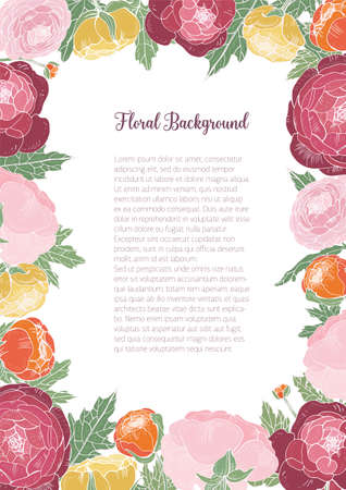 Gorgeous floral background with colorful blooming ranunculus and place for text in center. Frame consisted of elegant garden flowers and leaves. Natural vector illustration for poster, invitation.