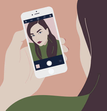 Young brunette woman holding smartphone and making selfie photo on front-facing camera. Long haired girl looking at phone with self portrait on screen. Colorful vector illustration in flat style. Illustration