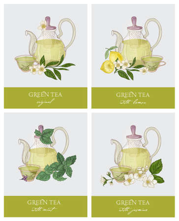 Set of labels or tags with elegant glass teapot, cup, green tea leaves, flowers, lemon, mint and jasmine. Collection of tasty aromatic beverages. Colorful vector illustration in retro style.