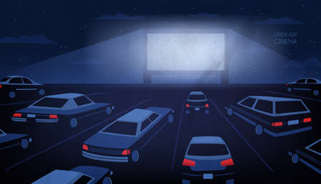 Open air, outdoor or drive-in cinema theater at night. Large movie screen glowing in darkness surrounded by cars against evening sky with stars and clouds on background.