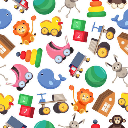 Seamless pattern with colorful children's toys on white background. Childish illustration for wallpaper, textile print, backdrop.
