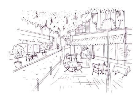 Esbozo a mano alzada de café o café al aire libre europeo con las tablas cubiertas por los manteles y las sillas que se colocan en la mano de la calle de la ciudad dibujada con líneas de contorno en el fondo blanco. Ilustración vectorial Foto de archivo - 92101506