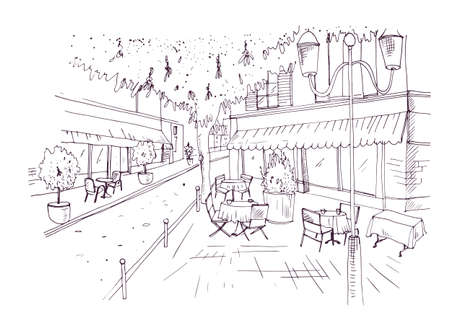 Freehand sketch of European outdoor cafe or coffeehouse with tables covered by tablecloths and chairs standing on city street hand drawn with contour lines on white background. Vector illustration.