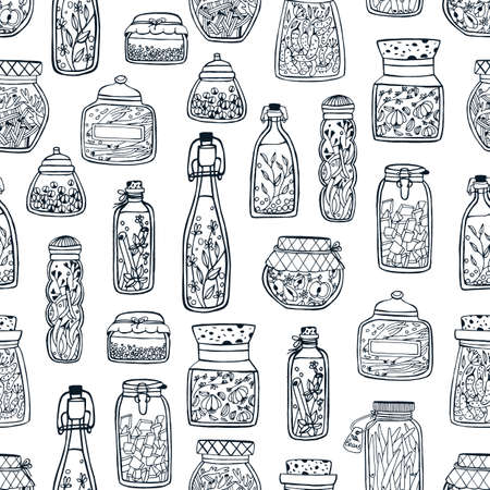 Monochrome seamless pattern with homemade preserves in glass jars and bottles hand drawn with black contour lines on white background. Vector illustration for fabric print, wallpaper, backdrop. Stok Fotoğraf