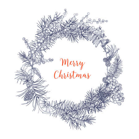 Christmas wreath made of branches and cones of fir and spruce trees, rowan berries, orange slices, holly leaves, star anise hand drawn in monochrome colors with contour lines. Vector illustration