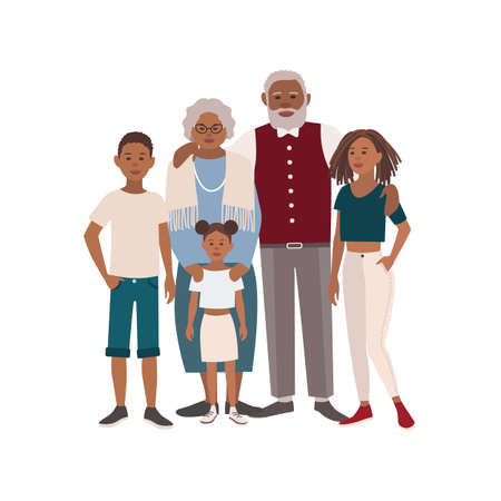 Happy African American family portrait. Grandmother, grandfather and their grandchildren standing together. Beautiful flat cartoon characters isolated on white background. Vector illustration. Illustration