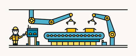 Belt conveyor equipped with robotic arms conveying cardboard boxes and industrial worker in hard hat standing and controlling production process. Colorful vector illustration in line art style.