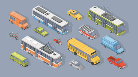 Collection of isometric motor vehicles isolated on gray background - car, scooter, bus, tram, trolleybus, minivan, bicycle, pickup truck. Set of automobile transport. Colorful vector illustration.
