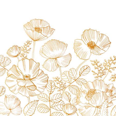 Hermoso telón de fondo cuadrado con flor de amapola flores y hojas en la parte inferior del borde dibujado a mano con líneas de contorno doradas sobre fondo blanco. Preciosa decoración floral. Ilustración vectorial botánica.