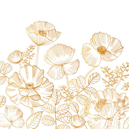 Beautiful square backdrop with blooming poppy flowers and leaves at bottom edge hand drawn with golden contour lines on white background. Gorgeous floral decoration. Botanical vector illustration.