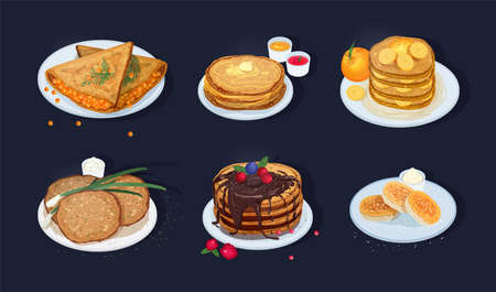 Collection of fried pancakes, blini, crepes, syrniki, oladyi lying on plates with various toppings isolated on dark background. Delicious cooked breakfast meals. Colorful vector illustration