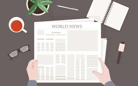 Person reading periodical or printing press with world, global or international news. 일러스트