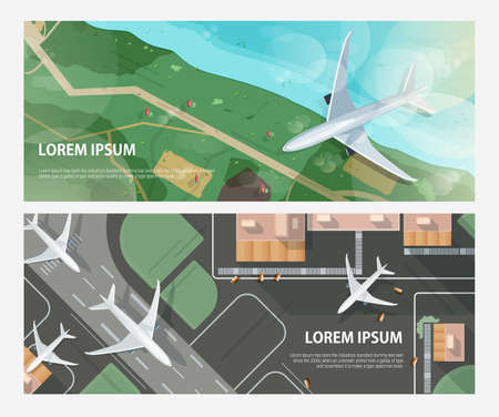 Set of horizontal banners with airplanes flying