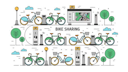 Bicycles available for rent parked at docking stations on city street, payment terminals, map stand and trees. Illustration