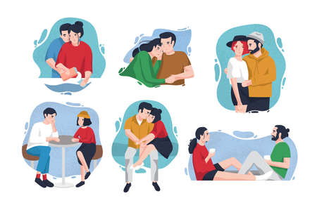 Collection of portraits of happy couples in love inside colorful blots. Lovers in various situations - hugging, sitting at table, drinking coffee. Cute flat cartoon characters. Vector illustration