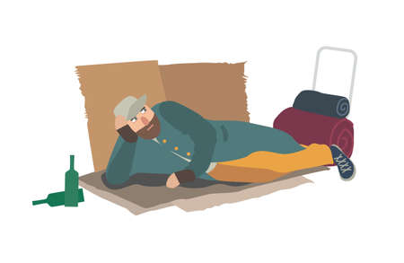 Homeless man dressed in ragged clothes lying on cardboard sheets on ground. Hobo, bum, tramp or vagabond. Person in poverty. Poor male character isolated on white background. Illustration