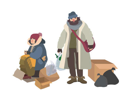 Homeless man and woman begging for money on street. Pair of bums, beggars, vagrants or vagabonds. Poor male and female cartoon characters isolated on white background. Colorful vector illustration.