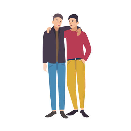Two young stylish men standing together, looking at each other and embracing. Pair of close friends. Male cartoon characters isolated on white background. Colored vector illustration in flat style Illusztráció