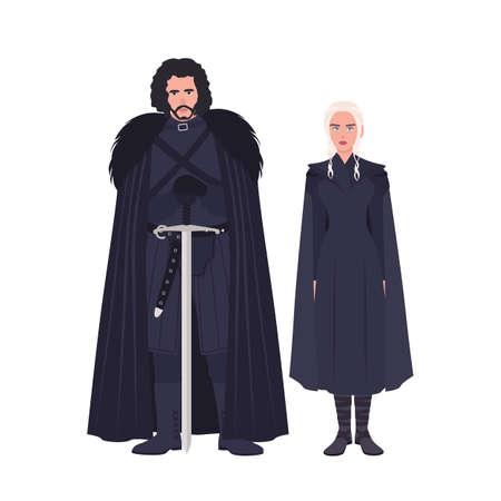 Jon Snow and Daenerys Targaryen dressed in black clothing.