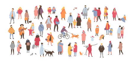 Crowd of people dressed in outerwear isolated on white background. Large group of men and women performing outdoor activities. Flat cartoon characters wearing winter clothing. Vector illustration