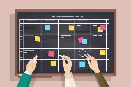 Blackboard with table drawn on it, sticky notes and hands holding pieces of chalk. Board for effective daily planning, scheduling, timetable, to-do list. Colorful vector illustration