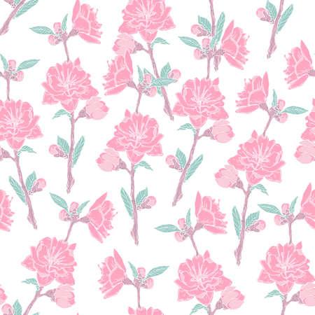 Herrliches nahtloses Muster mit blühender Rosarose auf weißem Hintergrund. Hintergrund mit schönen zarten Blumen. Farbige Vektorillustration in der antiken Art für Packpapier, Tapete, Gewebedruck Vektorgrafik