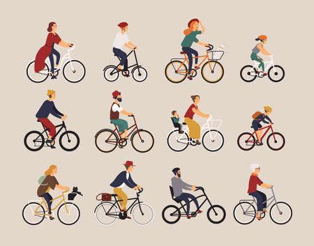 Raccolta di persone che vanno in bicicletta di vario tipo: città, bmx, ibrido, chopper, incrociatore, velocità singola, marcia fissa. Set di cartoni animati uomini, donne e bambini in bici. Illustrazione vettoriale colorato