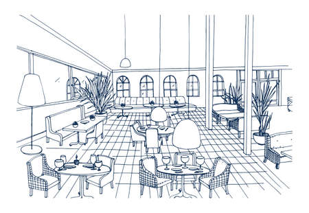 Fancy restaurant or cafe interior with checkered floor and stylish furnishings hand drawn in black and white colors. Freehand drawing of modern bistro furnished in elegant style. Vector illustration.