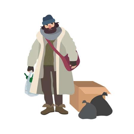 Arme dakloze man gekleed in haveloze kleren die naast kartonnen doos en vuilniszakken staan en een zak vol glazen flessen houden. Stripfiguur geïsoleerd op een witte achtergrond. Vector illustratie