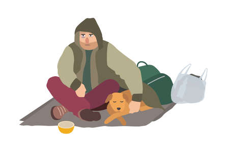 Depressed homeless guy dressed in dirty clothes sitting on carton mat on street, embracing sleeping dog and begging for money. Flat cartoon character isolated on white background. Vector illustration