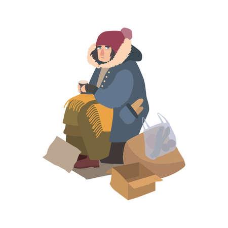 Arme obdachlose Frau kleidete in der zerlumpten Oberbekleidung an, die auf Straße neben Stapel des Abfalls sitzt, Papierschale hält und um Geld bittet. Zeichentrickfilm-Figur getrennt auf weißem Hintergrund. Vektor-illustration