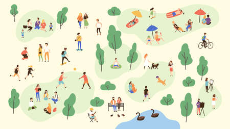 Various people at park performing leisure outdoor activities - playing with ball, walking dog, doing yoga and sports exercise, painting, eating lunch, sunbathing. Cartoon colorful vector illustration. Illustration