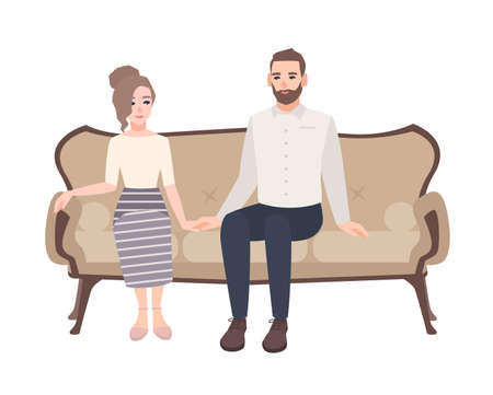 Young couple sitting on elegant sofa, holding hands and looking at each other vector illustration