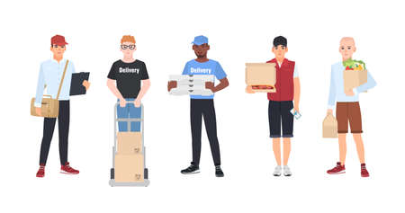 Collection of smiling delivery men vector illustration