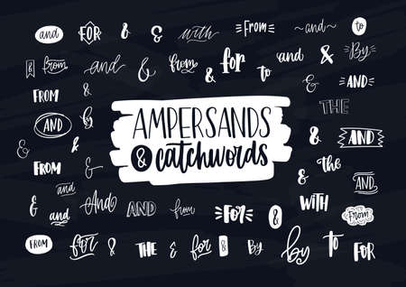 Collection of various handwritten ampersands, conjunctions, prepositions and articles. Bundle of elegant hand lettering design elements, words isolated on dark background.
