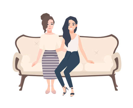 Pair of smiling young women dressed in elegant clothes sitting on classical sofa. Two cheerful female cartoon characters embracing on cozy couch. Friend s meeting. Colorful vector illustration.