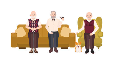 Group of smiling elderly men dressed in casual clothes sitting on comfortable couch and in cozy armchair. Old male cartoon characters reposing together. Colorful vector illustration in flat style.