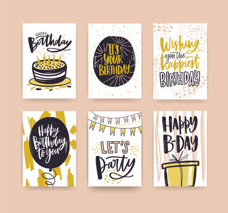 Collection of birthday greeting card templates decorated with handwritten wishes and festive elements - gift, cake with candles, balloon, confetti, flag garlands. Hand drawn vector illustration. Illustration
