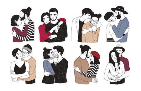 Collection of romantic couples isolated on white background. Set of portraits of men and women in love hugging, cuddling and kissing. Hand drawn vector illustration for Valentines day greeting card. Illustration