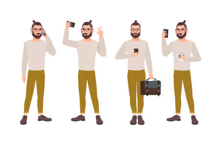 Young man dressed in stylish clothes with smartphone texting, talking, taking selfie photo, reading message. Illustration