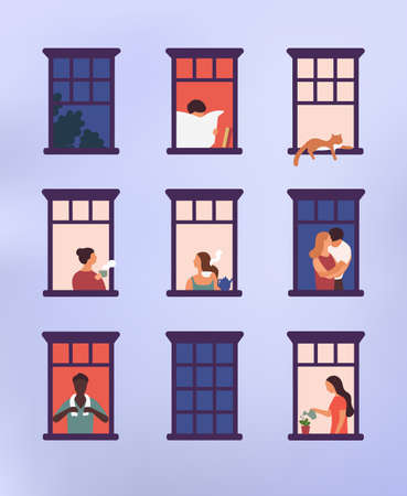 Windows with neighbors doing daily things in their apartments - drinking tea, talking, watering potted plant, hugging or cuddling, reading newspaper. Colorful vector illustration in modern flat style. Vetores
