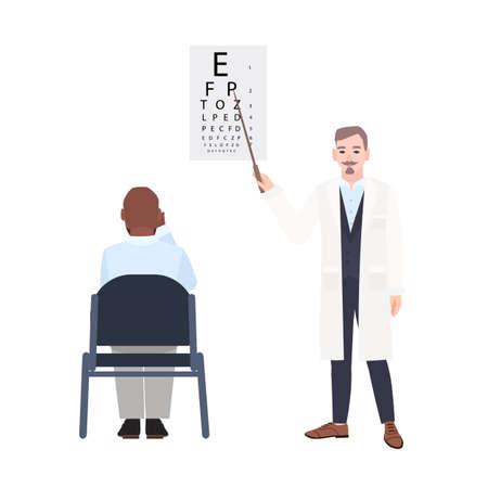 Augenarzt mit dem Zeiger, der neben Sehtafel steht und das Sehvermögen des Mannes sitzend vor ihm überprüft. Augenarzt, der Sehschärfe des Patienten misst. Bunte Vektorillustration in der flachen Art. Standard-Bild - 94061236